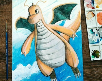 Pokemon Dragonite Original Painting
