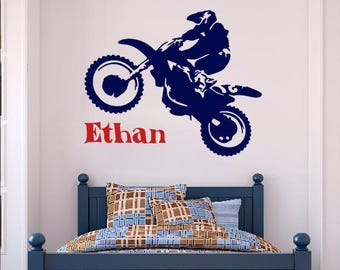 Motocross Name Wall Decal Boy  Dirt Bike Wall Decals Personalized Stickers  Kids Boys Room Nursery Part 15