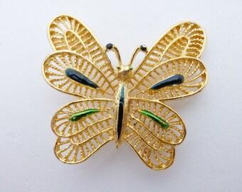 Signed Gerrys Butterfly brooch gold tone green enamel AA665