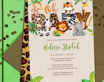 Jungle Baby Shower Invitation | Jungle Animals Invite | Safari Themed Baby  Shower | Baby Jungle