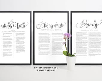 ALL 3 Prints - The Family Proclamation to the World, Articles of Faith, AND The Living Christ Matching Print or Printable - LDS Wall Decor