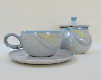 Denby Peasant Pattern Tea Cup and Saucer and Sugar Bowl Set Vintage Mid Century Stoneware Serving Tableware