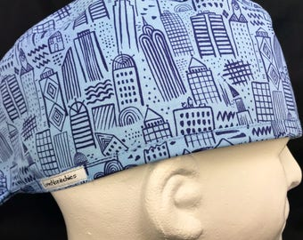 Metropolis Mens surgical surgeon's cap Fitted scrub caps scrub hat for Men OR surgery hat Biker Minimalist LoveNstitchies Hospital Blue Fun