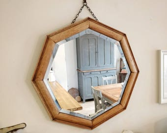 solid oak mirror. vintage mirror. antique mirror. wall mirror. Stripped oak mirror. old mirror. antique mirror
