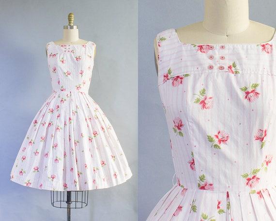 1950s Pink Lotus Floral Dress/ XS (34B/24W)