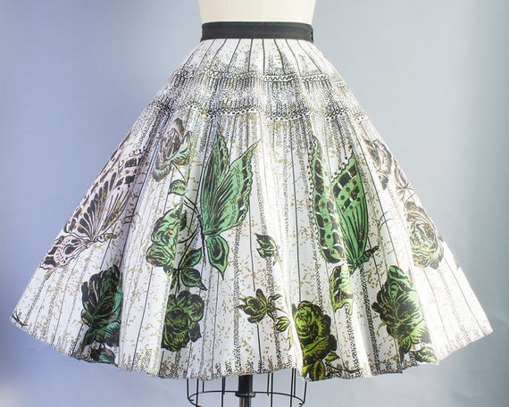 1950s Handpainted Butterfly Rose Print Novelty Skirt | Small (26 Waist)