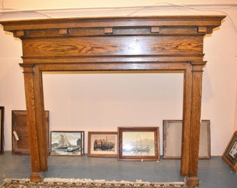 Antique Solid Oak Craftsman Mission Arts and Crafts Fireplace Mantle Surround