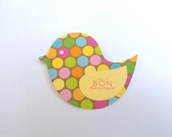 Handmade bird yellow and multicolored polka dot girl birthday card