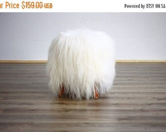 ON SALE WOW! Exclusive Luxury Beautiful Unique Natural, Real icelandic Sheepskin Stool, bench, chair  cover soft, long fur