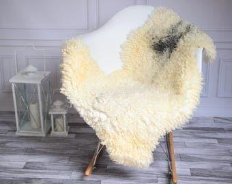 Genuine Rare Gotland Sheepskin Rug - Curly Fur Rug - Natural Sheepskin - Beige Gray Sheepskin #GOTWES10