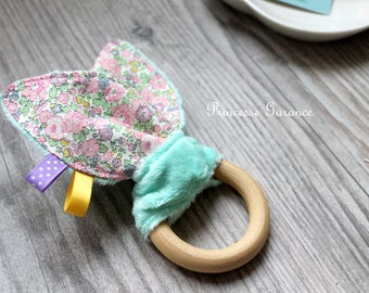 Swishing rattle, Montessori, teething, rabbit, Liberty of London, paper earrings