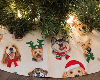 Christmas Tree Skirt-Dog Tree Skirt-Dog Christmas Tree Skirt-Selfie-Holiday Decor-Husky-Dashhund-Wiener Dog-Lab-Yorkee-Dogs-48-50""