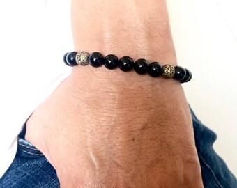 Black Onyx Antique Brass Protection Bracelet, Gifts for Him, Men's Bracelets, Wellness Bracelet,Positive Energy Braclet, Husband Gifts