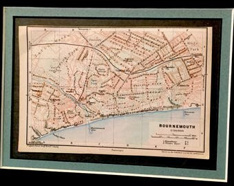 Vintage 1927 map of Bournemouth, UK. Great gift idea!