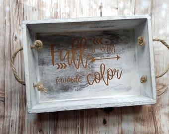 Fall is my favorite color Decorative Serving Tray - Fall Decor - Seasonal Decor - Decorative Tray - Home Decor - Farmhouse Decor