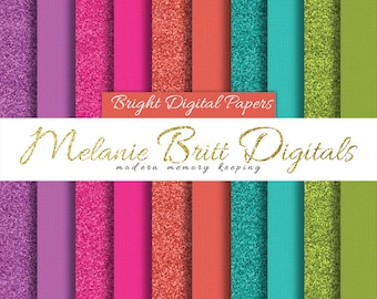 BRIGHT GLITTER PAPER, bright cardstock paper, hot pink, turquoise, purple, tangerine orange, lime, printable paper pdf, instant download