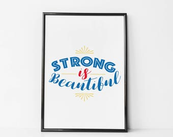 Wonder Woman Quote / Strong is beautiful Quote Print / Canvas - / Feminist Quote / Quote for Girls / Wonder Woman