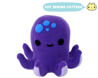 Octopus Plush Pattern, Octopus Sewing Pattern, Plush Octopus DIY, PDF Pattern, Stuffed Animal Pattern, Kawaii Octopus Toy PDF, Octopus Toy