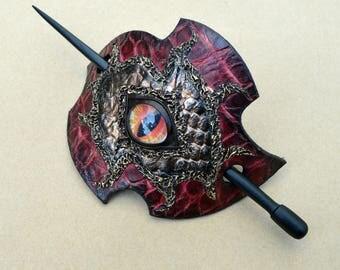 Dragon Eye Leather Barrette - Barrette with Stick - Hair barrette