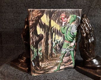 Robin Hood  The Merry Adventures of Robin Hood Hardcover Book with Mylar and Dustjacket, Howard Pyle, 1986, Gilt Lettering