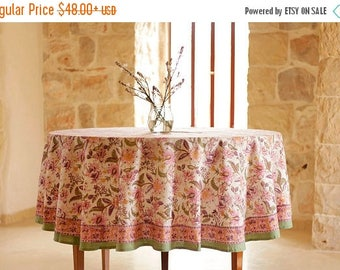 on sale Round white tablecloth with pink floral design, handmade Indian blockprint, tablecloth, home decor