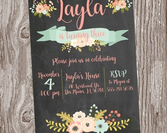 Coral and Mint Floral Birthday Invitation