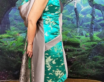 Emerald Green Dragon Brocade WhmZ * Steampunk * Asian * Cosplay * Silver * Plus Size * One of a Kind * Hood * Pockets * Velvet * Renaissance