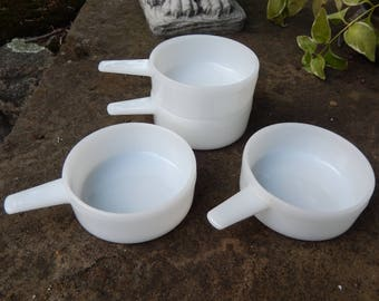 Vintage MILK GLASS Ovenware Handled Soup Bowls, Mini Casserole Dishes, Stacking Ramekin, French Onion, Set of 4, Made in USA J-2639 14 oz