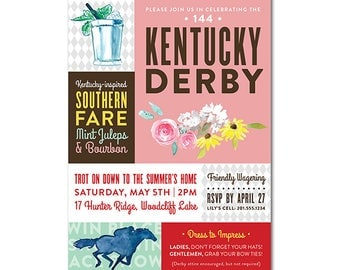 Kentucky Derby 5x7 Invitation with watercolor illustrations - Colorblock Argyle – Printable and Personalized