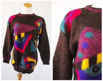 Ugly Sweater Party Idea // New Wave Geometric Sweater Colorful Fun for Tacky Sweater Party