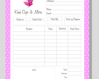 Order Form, Printable order form, Work at Home, PDF FILE, Personalised With your logo, Office stationery, Dots design, Editable template