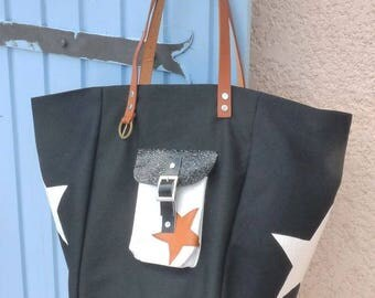 Black tote bag, croco ivory pocket, stars camel leather handles