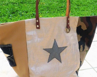 patchwork tote bag military army camouflage designer gold lame linen, Star, camel leather handles