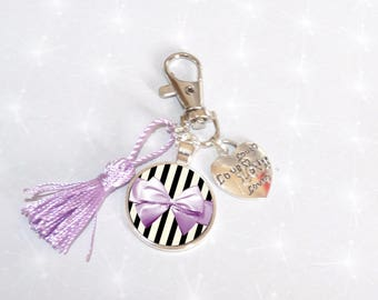 Jewelry bag/door key Cabochon bow black/purple and violet tassel