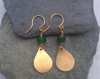Teardrop earrings, green chalcedony, brass teardrop earrings, chalcedony earrings, brass earrings, green gemstone earrings, green earrings