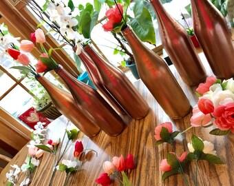 Rose Gold and Gold Wine Bottle Flower Vases _ Handpainted