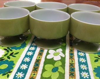 Vintage Green Federal Glass Footed Dessert Cups, Set of 6, Bowls, Dishes