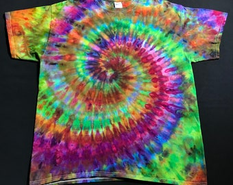 Size Large Tie Dye Shirt - Ice Dye T-Shirt - Trippy Rainbow Ice Dyed Shirt - One of a Kind Tie Dye T-Shirt - Adult Large Tie Dye Shirt