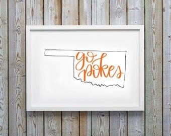 Oklahoma State University Printable - Go Pokes - OSU - Dorm Decor - Calligraphy - Digital Art - Instant Download - College - Game Room
