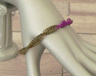 Purple Chain Mail Helix Bracelet, Chain Mail Bracelet, Chainmail Bracelet, DNA Jewellery, Chainmaille Bracelet, Chain mail Jewellery