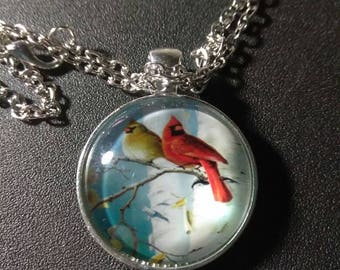 Cardinal bird necklace #920