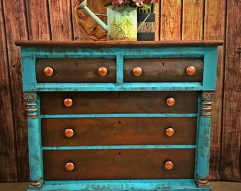 Sold~Rustic Boho Antique Empire Clawfoot Dresser Buffet Gypsy Style  Furniture