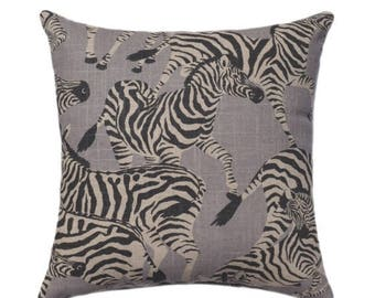 SALE Grey Zebra Zippered Pillow Cover - Zebra Migration - Gray Accent Pillow - Herd Together - Animal Pillow Cover - Zebra Decorative Pillow