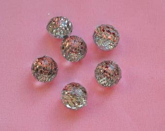 set of 6 ball rhinestone buttons
