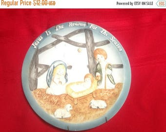 Christmas in July Sale Vintage Christmas Plate, Jesus Is the Reason for The Season, Manger Scene with Boy and Girl