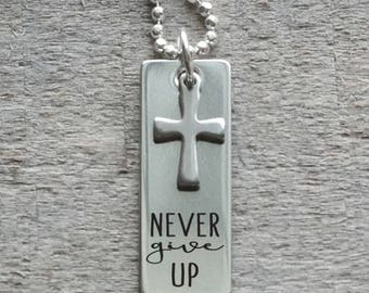 Never Give Up Personalized Tag and Cross Necklace