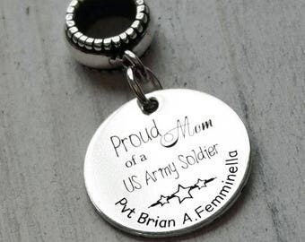 Proud Military Mom Personalized Engraved Charm Bead