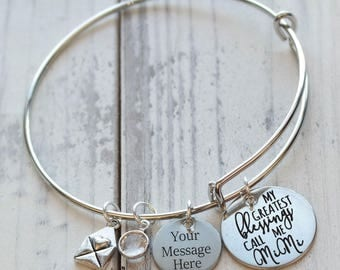 My Great Blessings Call Me Grandma Wire Adjustable Bangle Bracelet