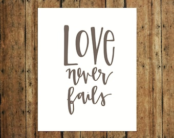 Love Never Fails | Digital Print | Calligraphy | Brown