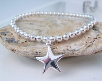 Silver Star Charm Bracelet, Wish on a Star Bracelet, Sterling Silver Stretch Bracelet, Star Jewellery, Bridesmaid gift,gift for her,handmade